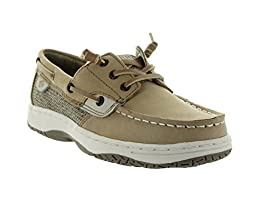 Sperry Top-Sider Ivy Fish Boat Shoe (Little Kid/Big Kid), Linen/Oat, 4.5 M US Big Kid