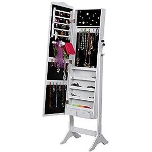 Songmics armoire bijoux rangement avec miroir et cl s 158 x 41 x 38cm jbc82 - Miroir avec porte bijoux ...