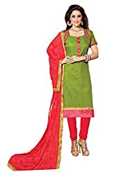 Inddus Exclusive Women's Olive Green & Coral Color Dress Material