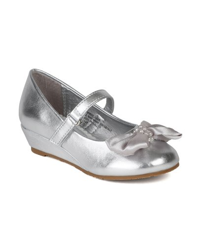 Little Angel Ai96 Bow Embellishment Round Toe Wedge Heel Sandal (Toddler/ Little Girl/ Big Girl) - Silver (Size: Toddler 9)