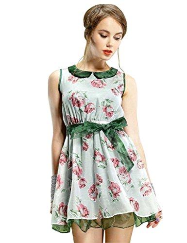 Elf Sack Womens Summer Dress Sleeveless Jacquard Organza Retro Bowknot Large Size Pink
