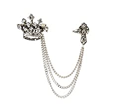 Silver Swarovski Crown With Hanging Tassel Brooch/Shirt Stud/Lapel Pin For Men
