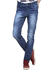 Raux Men's Dark Blue Faded Slim Fit Jeans