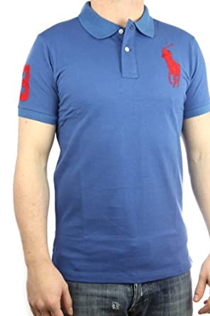 Polo by Ralph Lauren Polo pour homme Big Pony coupe slim (Bleu clair/rouge)
