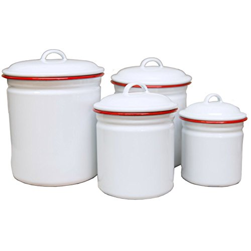 red and white kitchen canisters for storage red kitchen