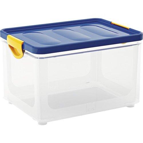 Kis 8682000037701scatola portaoggetti Clipper Box, 20l, plastica, trasparente/Blu, 40x 28,5x 24,5cm