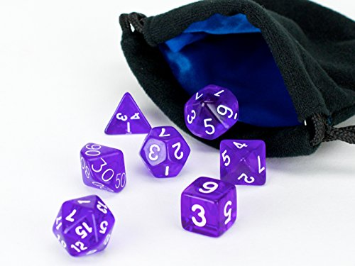 Polyhedral Dice Set Purple Translucent | 7 Piece | PRISTINE Edition | FREE Carrying Bag | Hand Checked Quality With | Money Back Guarantee