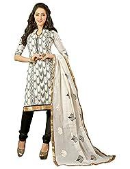 Surat Tex White Color Embroidered Chanderi Cotton Un-Stitched Dress Material - B017RAVTG4