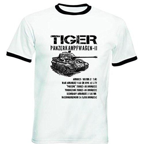 Teesquare1st TIGER PANZER II GERMAN TANK - Tshirt da uomo con bordi neri XXLARGE Size