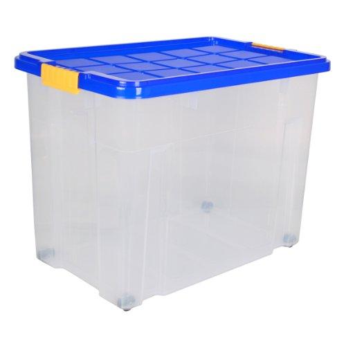 Axentia-Universalbox-Eurobox-mit-Deckel-Aufbewahrungskiste-fr-Spielzeug-Skibekleidung-Putzzeug-Gstebettwsche-Ordnungssystem-passend-fr-Kistenstnder-60-x-40-x-445-cm-mit-Deckel-farblich-sortiert-blau-w