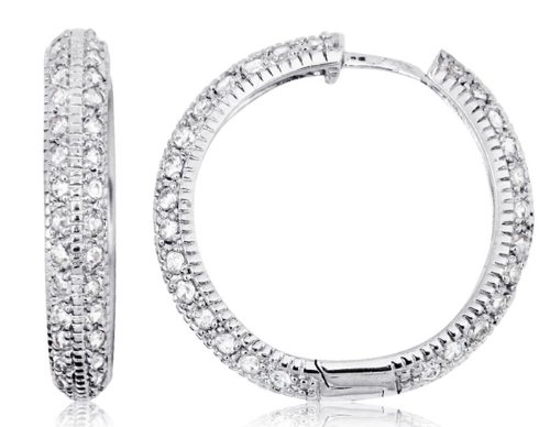 14k White Gold and Cubic Zirconia City-Style Hoop Earrings