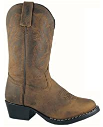 Kids Child Denver Leather Western Boot, Oiled Distress Brown, Size 13