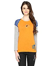 Bedazzle Solid Women's Round Neck Orange Top
