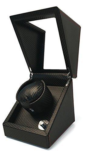 Pateker-Luxus-Carbon-Faser-Uhrenbeweger-fr-eine-Uhr-Schaukarton-Schachtel-aus-Schwarzem-Leder-100-Handarbeit