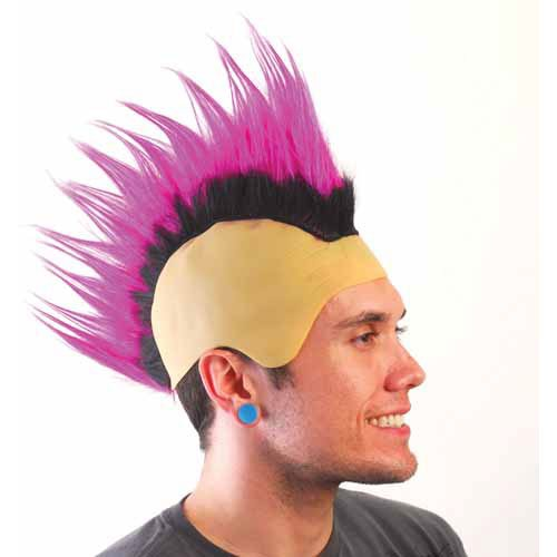 One Spiked Mohawk Wig (Purple and Black)