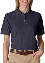 8541 UltraClub Ladies39 Whisper Piqu233 Polo Black Heather
