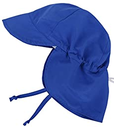 SimpliKids UPF 50+ UV Ray Sun Protection Baby Hat w/ Neck Flap & Drawstring,Royal Blue,0-12Months