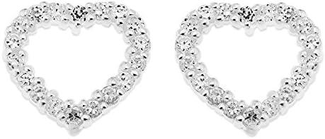Ornami Sterling Silver CZ Set Open Heart Earring Studs