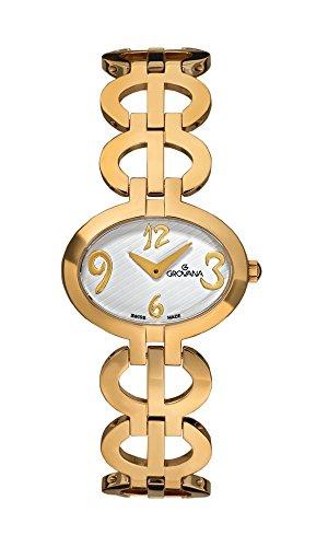 GROVANA 4566,1113 Mecanismo de cuarzo para mujer Swiss reloj infantil con mecanismo de esfera analógica chapadas en oro correa de acero inoxidable de