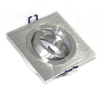 10er set einbaustrahler lenard eckig 230v farbe aluminium geb rstet inkl gu10 ip20 5 watt power. Black Bedroom Furniture Sets. Home Design Ideas