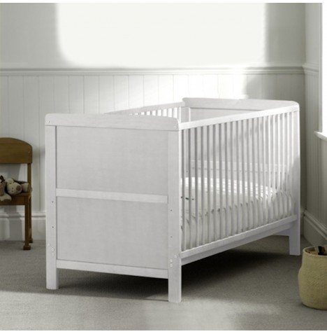 COT BED/JUNIOR BED LUXURY WHITE FINISH WITH FREE MATTRESS