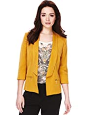 Petite Shawl Collar Zip Tailored Jacket