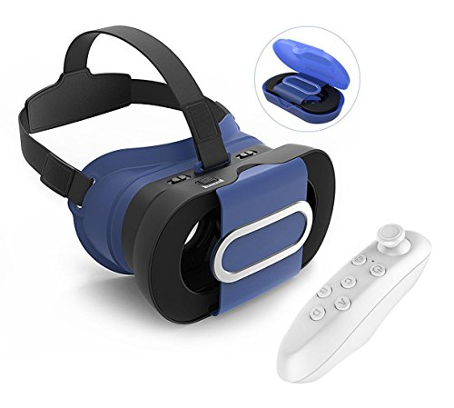 Foldable Portable VR Virtual Reality Headset + Wireless Bluetooth Remote Controller with Travel Carrying Storage Bag Blue