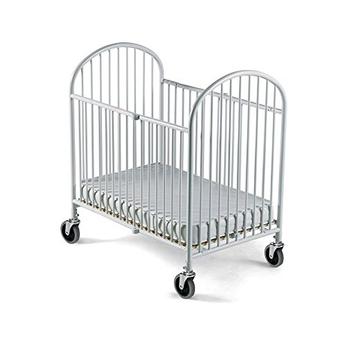 Foundations Pinnacle Folding Compact Steel Crib with Innerspring Mattress - White