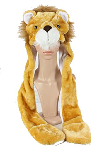 Funnie 21 Novelty Animal HAT Cosplay CAP - Unisex Fit Adult & Children- Soft Warm Headwraps Headwear with Mittens (The Lion King) (Lion Head Costume compare prices)