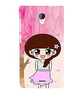 EPICCASE Pink Skirt Girl Mobile Back Case Cover For Micromax Unite 2 A106 (Designer Case)