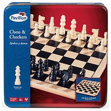 Pavilion Chess & Checkers Board Game Set in a Tin