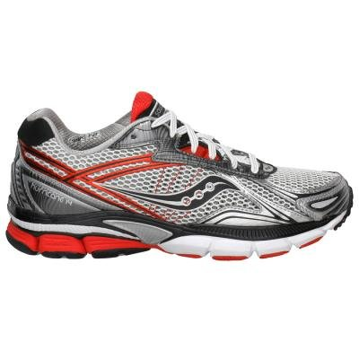 Saucony Men's Powergrid Hurricane 14 wide Running Shoe,White/Black/Red,12.5 W US