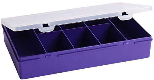 5x Wham 12845Boîte de rangement 3.01, 8compartiments, 29x 19x 5,5cm, violet