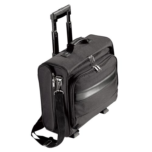 Black Executive Laptop Trolley Travel Case / Cabin Bag- with Removeable Laptop Pouch