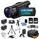 Sony FDRAX100/B FDR-AX100 FDRAX100 AX100 4K Video Camera w/ 3.5-Inch LCD Bundle w/ 32GB Memory Card , Gadget Bag, Battery , Battery Charger, Filter Kit, HDMI Cable, Card Reader, Full Size Tripod, Mini Tripod, Screen Protectors and Cleaning Kit