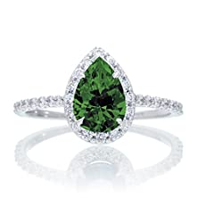 buy 1.5 Carat Classic Pear Cut Emerald With Diamond Celebrity Engagement Ring On 10K White Gold