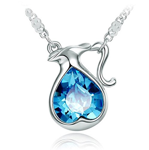 "The Starry Night Blue Heart Crystal Twelve Constellations Aquarius Shining Silver Necklace 18.5"" Suitable Females"