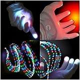 Dragonpad® White Raver Gloves, 6 modes, Multicolor, Red+Green+Blue LED lights in each fingertip, Small