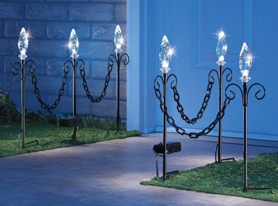 Set Of 2 Chain Link Solar Lighted Stakes - Outdoor Garden Decor
