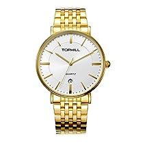 Tophill Men's RF51252M Slim 18K Gold Plated Stainless Steel Quartz Watch Analog Date