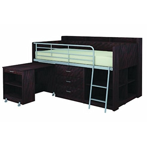 Loft Bed with Desk and Storage Espresso Twin Size Boys Teens Bedroom Furniture