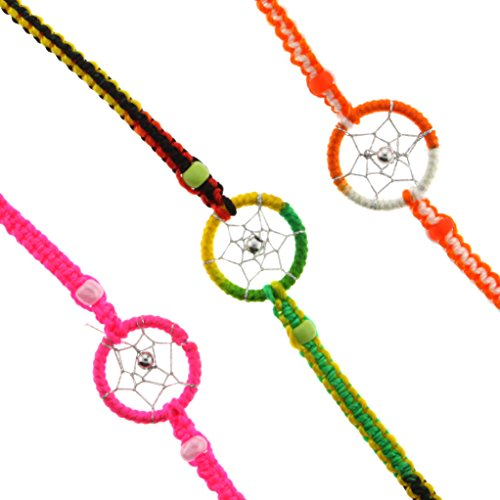 Dream Catcher Hand Woven Bracelets - Pink, Orange/White, and Rasta Color - Ideal Friendship Bracelets - Sold in a set of 3 - 1