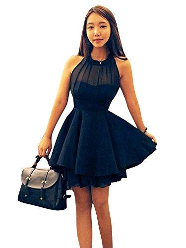 Molly Donne Elegante Abito Da Cocktail Corto Partito Abiti Abbigliamento Small Nero