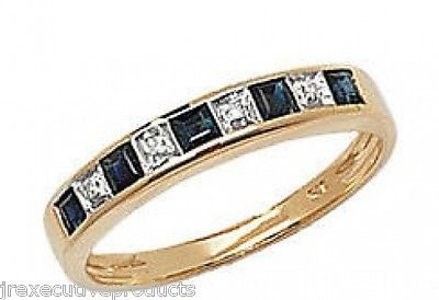 J R Jewellery 407069 9ct Gold Real Sapphire & Diamond Half Eternity Ring