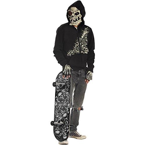GSG Skeleton Skateboarder Costume Preteen Kids Bonehead Skater Hoodie Dress (Skeleton Hoodie Teen Costume)