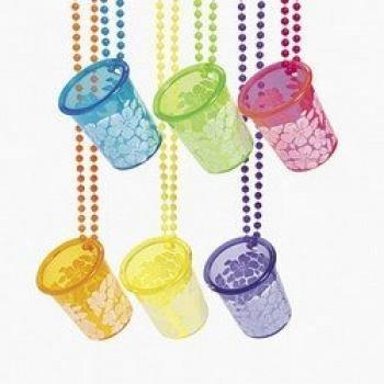 Fun Express Luau Hibiscus Shot Glass Bead Necklace (1 Dozen)