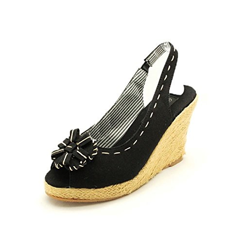 Black Canvas sling back wedge heel sandals with rosette peep toe
