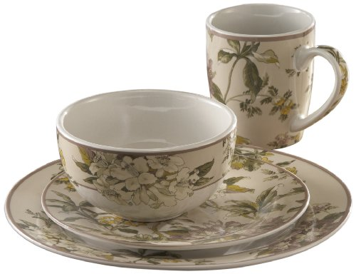 Waverly 16-Piece Fawn Hill Round Dinnerware Set, Ivory/Purple
