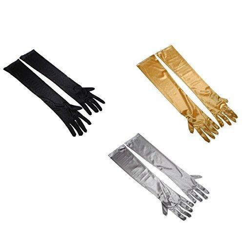 Tinksky Womens Stretch Satin longs gants mariée soirée gants - 3 pairsset