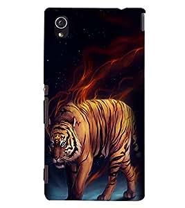 Printvisa Tiger Tiger Burning Bright Back Case Cover for Sony Xperia M4 Aqua::Sony Xperia M4 Aqua Dual